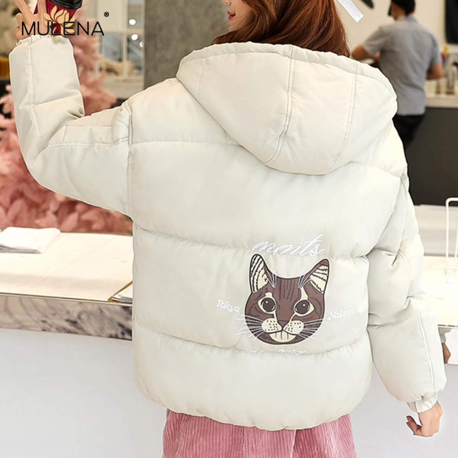 Mulena Plus Size Loose Cat Pattern Hoodie   Down     Coat   Women Thick Warm Office Lady Bread   Coats   Winter Fashion Casual Couple Suit