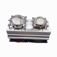 1kit 60 120degree DC12V Led Heatsink Fan + 44mm/57mm Glass Lens for 2pcs 20W 50W 30W 100W High Power Led chip