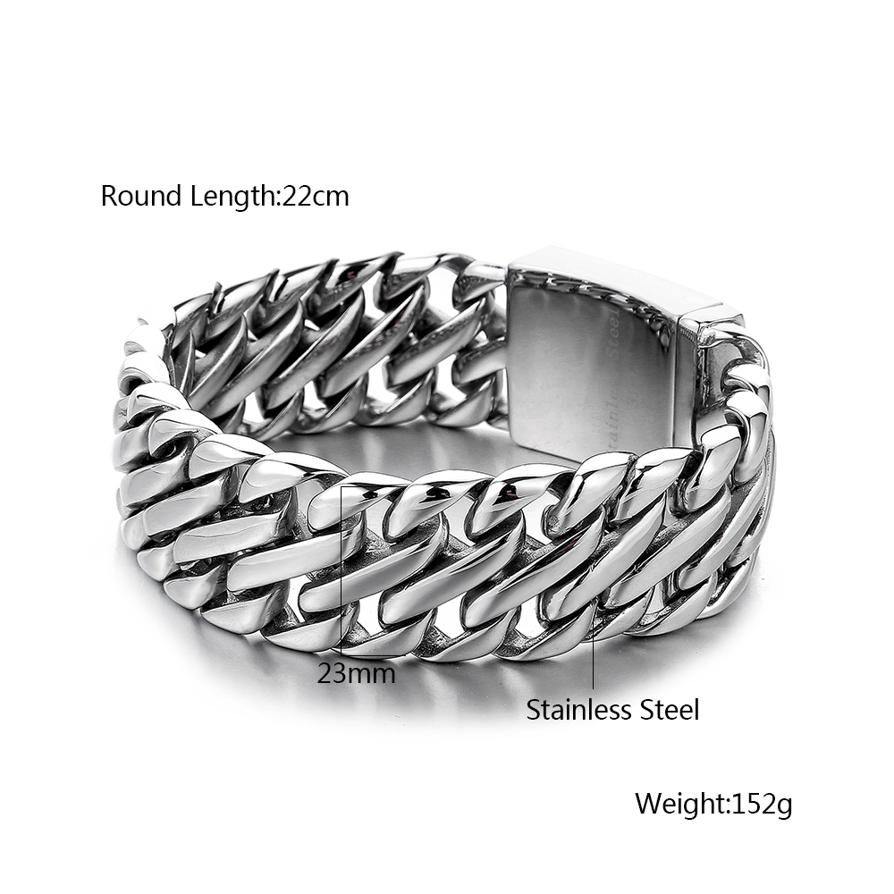 Image 5 - Double Curb Cuban Chain Bracelet Mens 316L Stainless Steel Wristband Bangle Silver Tone 23mm Buddha Bracelet with Logo-in Chain & Link Bracelets from Jewelry & Accessories