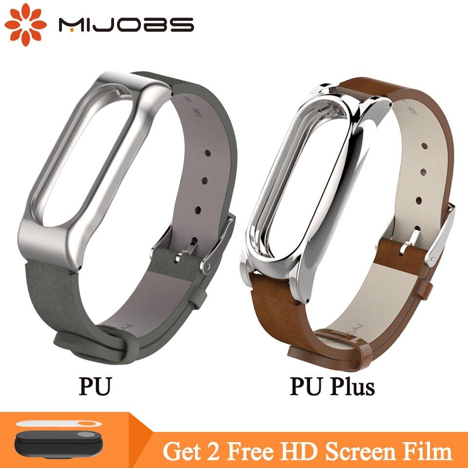 Mijobs PU Leather Strap For Xiaomi Mi Band 2 Strap Mi Band 2 Bracelet Miband 2 Strap Wristband Smart Watch Replace Wrist Strap