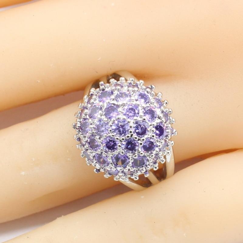 925 Sterling Silber Ringe Für Frauen Klassische Engagement Ring Ball Lila Semi-wertvolle Stein Ringen Femme Kostenloser Ring Box