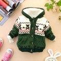 Otoño invierno bebé chaqueta de terciopelo grueso para niños niñas oso de la tenencia niños gruesa chaqueta de la capa