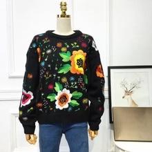 2017 зимние европейские и американские ретро прилив лицензирования свободные ткачество цветы Вышивка свитер Для женщин Повседневное Вязание свитер