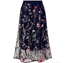 2019 Sexy Vintage Women Lady Plus Sizes Big Large Pleated Midi Lace Embroidery Flower Ruffles Elegant Chiffon Party Ball Skirts(China)