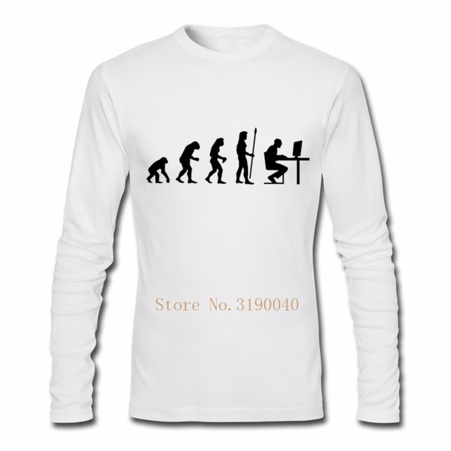 c422f0d80b3 Gamer evolution computer age funny T shirt Mens Long Sleeved Basic camiseta cotton  Tee Shirt Male Tops Plus Size