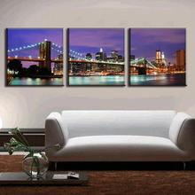 2016 3 Pcs/Set Landscape Canvas Prints The Purple Night Of New York City On The Brooklyn Bridge Wall Pictures For Living Room