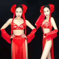 DJ Costume Red Chinese Style Jazz Dance Costume Nightclub DS Bar Singer Dance Wear Gogo Costumes Pole Dance Clothing DQS1303