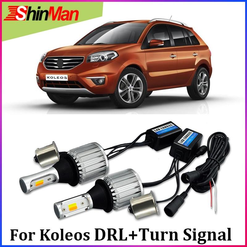 ShinMan weiß Bernstein Auto COB LED DRL Tagfahrlicht blinker Schalten Licht Für Renault Koleos 2009-2017 zubehör