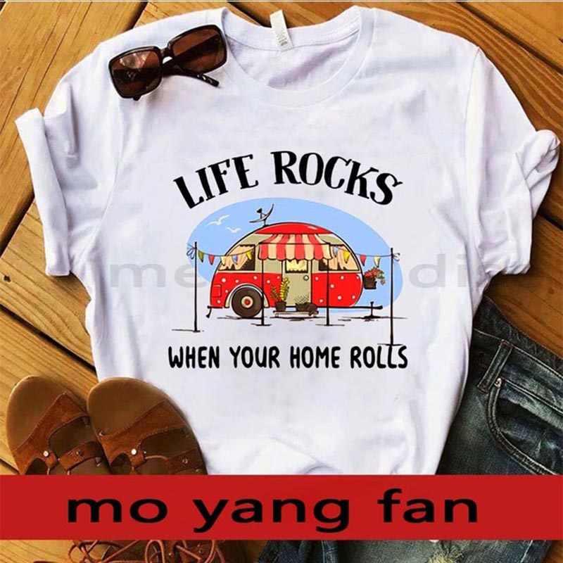 New2018 футболка кемпинг жизнь скалы, когда ваш дом рулонов серая футболка A