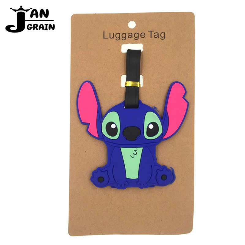 Cartoon Stitch Silica Gel Luggage Tag Travel Accessories Suitcase ID Address Holder Cute Baggage Boarding Tag Portable Label
