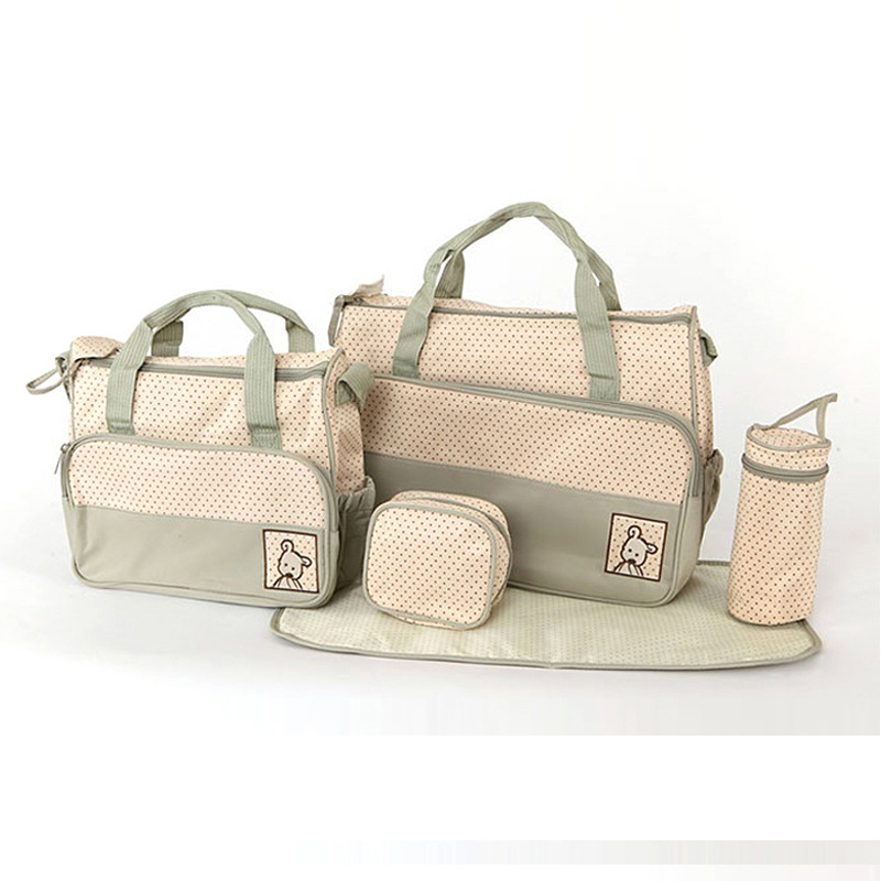 Five pieces of a series Multifunctional Baby Stoller Bag Nylon Waterproof Diaper Bags Larger Capacity Nappy Bags Five pieces of a series Multifunctional Baby Stoller Bag Nylon Waterproof Diaper Bags Larger Capacity Nappy Bags