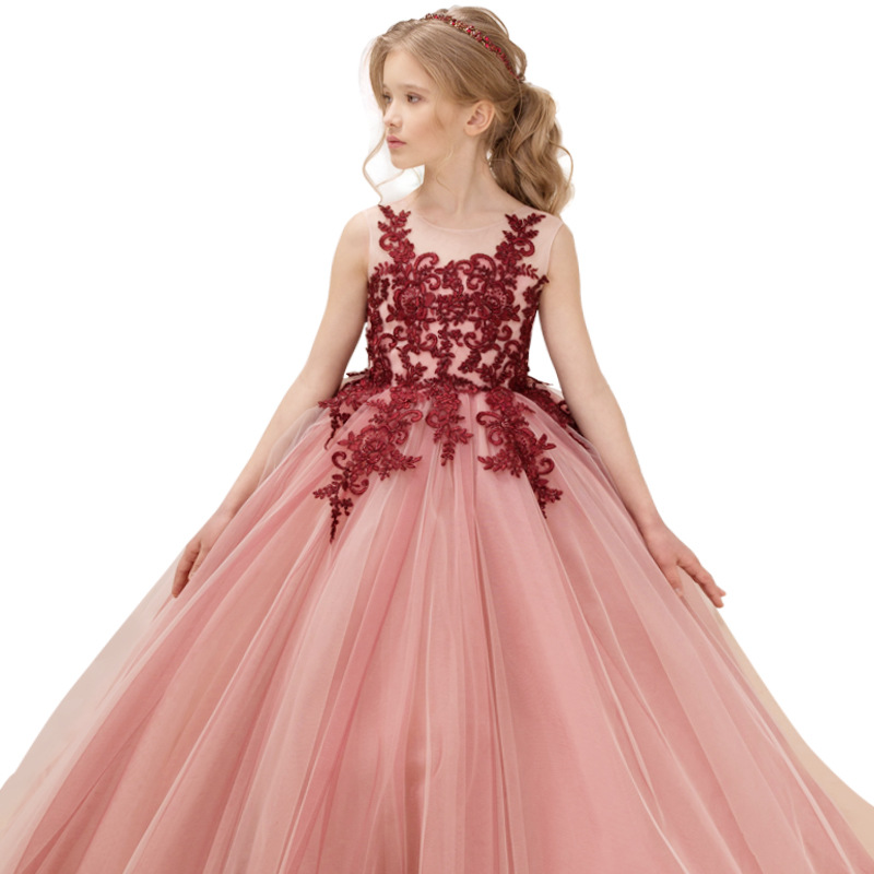 Kids   Dress   For   Girls   Wedding   Flower     Girl     Dress   Beauty Pageant Elegant Princess Embroidered Gown   Girls   Birthday Party Prom   Dress