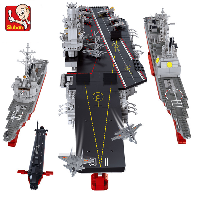 Sluban model building kits compatible with lego city ship 781 3D blocks Educational model & building toys hobbies for children aircraft carrier ship military army model building blocks compatible with legoelie playmobil educational toys for children b0388