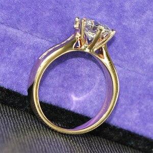 Image 3 - Transgems 2 カラットラボ成長モアッサナイトダイヤモンドソリティアウェディングリングモアッサナイトアクセント固体 14 18k イエローゴールドバンド女性のための