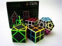 Zcube Magic Cube Set 5 stks/doos Koolstofvezel Magic Cube Pyraminx Megaminx Axis 2x2 3x3 Speed puzzel Cube Toy Gift