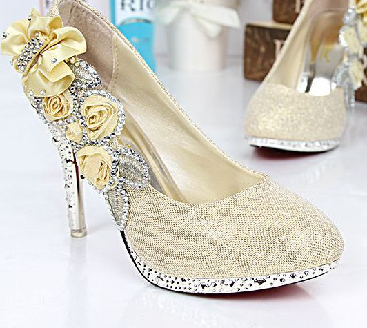 10CM thin high heels flowers point toes sexy pumps shoes TG1469 woman silver gold ladies wedding pumps red parties dance pump