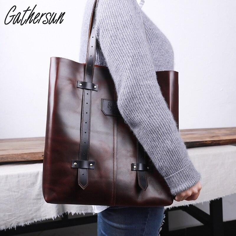 2017 Rushed Limited Gathersun Brand Original Desin Handmade Leather Shoulder Bag Women Full Retro Ladies Handbag Without Lining