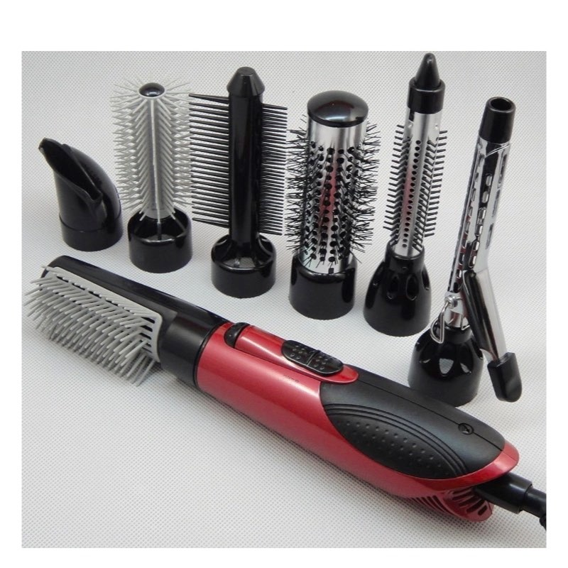 220V Hair Dryer Hair Blow Dryer 7 In 1 Attachment Comb Nozzle Hair Brush  Curling Irons