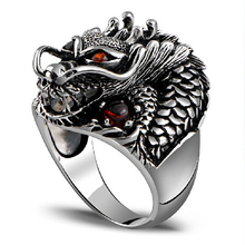 925 sterling silver rings dragon rings males with natrual garnet stone classic punk rock positive jewellery for males anillos de plata