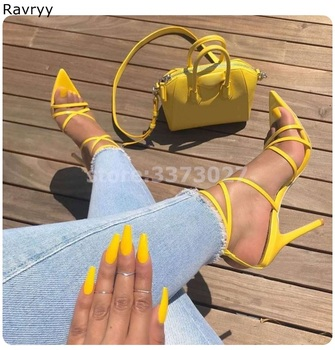 Yellow Woman sandals summer fashion ankle buckle high heels pointed toe sexy pump stiletto thin heel female party single shoes