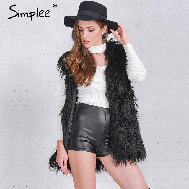 Simplee Пушистый черный искусственного меха жилет жилет Осень зима рукавов верхняя одежда женщин пальто Мягкий белый волосатые пальто
