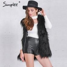Simplee Fluffy black faux fur vest waistcoat Autumn winter sleeveless outerwear women coats Soft white hairy overcoat