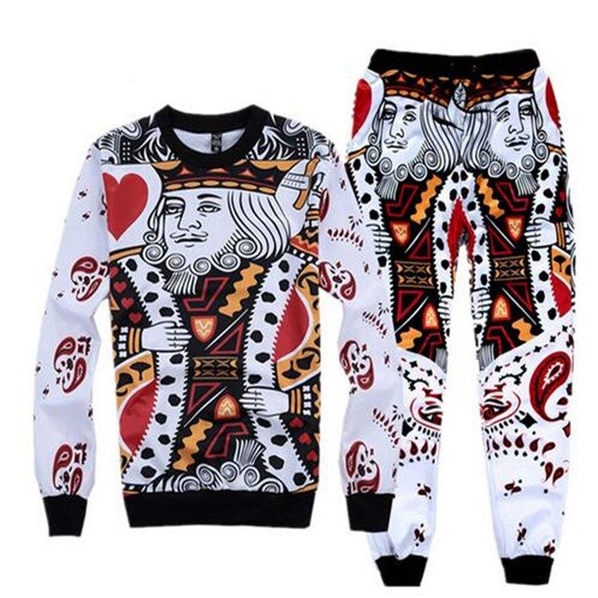 Sondirane Newest 3D Print King/K Poker Face Sweatshirt&Sweatpants Men Boy Jogger Pants Casual Tops Trousers Funny Clothing