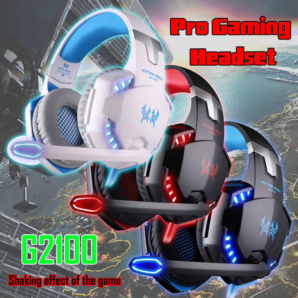 KOTION Pro Gaming Headphone G2100 Pro Gaming Headphone Online Game LED Headset Surround Sound Feel+Microphone