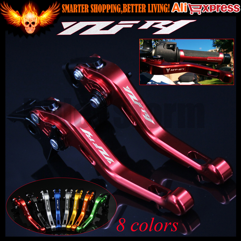 ФОТО 8 Colors Laser Logo(YZF R1) New CNC Aluminum Red Motorcycle Short Brake Clutch Levers For Yamaha YZF R1 2015 2016