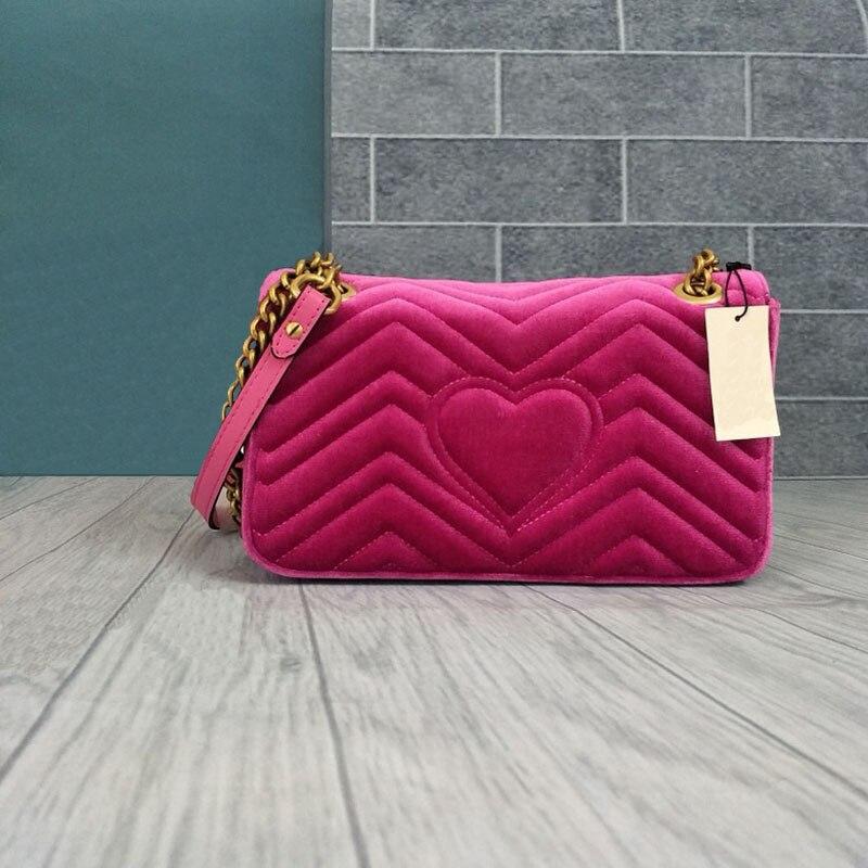 Luxury คุณภาพสูงกำมะหยี่หญิงไหล่กระเป๋าผู้หญิง messenger กระเป๋าผู้หญิงยี่ห้อ Designer chain Back Love Heart lady กระเป๋า-ใน กระเป๋าสะพายไหล่ จาก สัมภาระและกระเป๋า บน   2