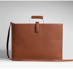 Bolso de mano de cuero genuino de alta calidad para oficina de negocios de padfolio bolsa de documentos para tableta/macbook