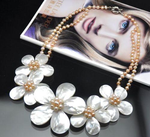 Grosses soldes nouveau Style>>>>> bijoux de mariage femme naturel rose perle collier ras du cou jolie fleur à la main