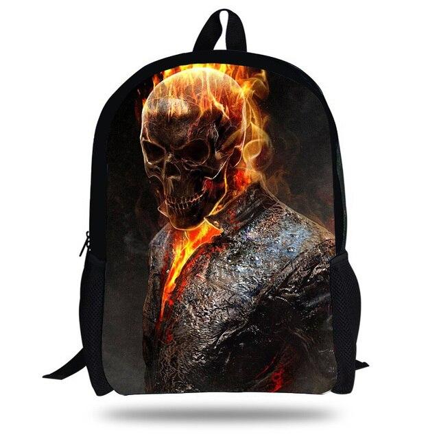 5106a1f278 16-Inch Terrors Skull School Backpack Boys Street Rock Men Children Print  Grim Reaper Bakcpack girls Schoolbag Teenagers
