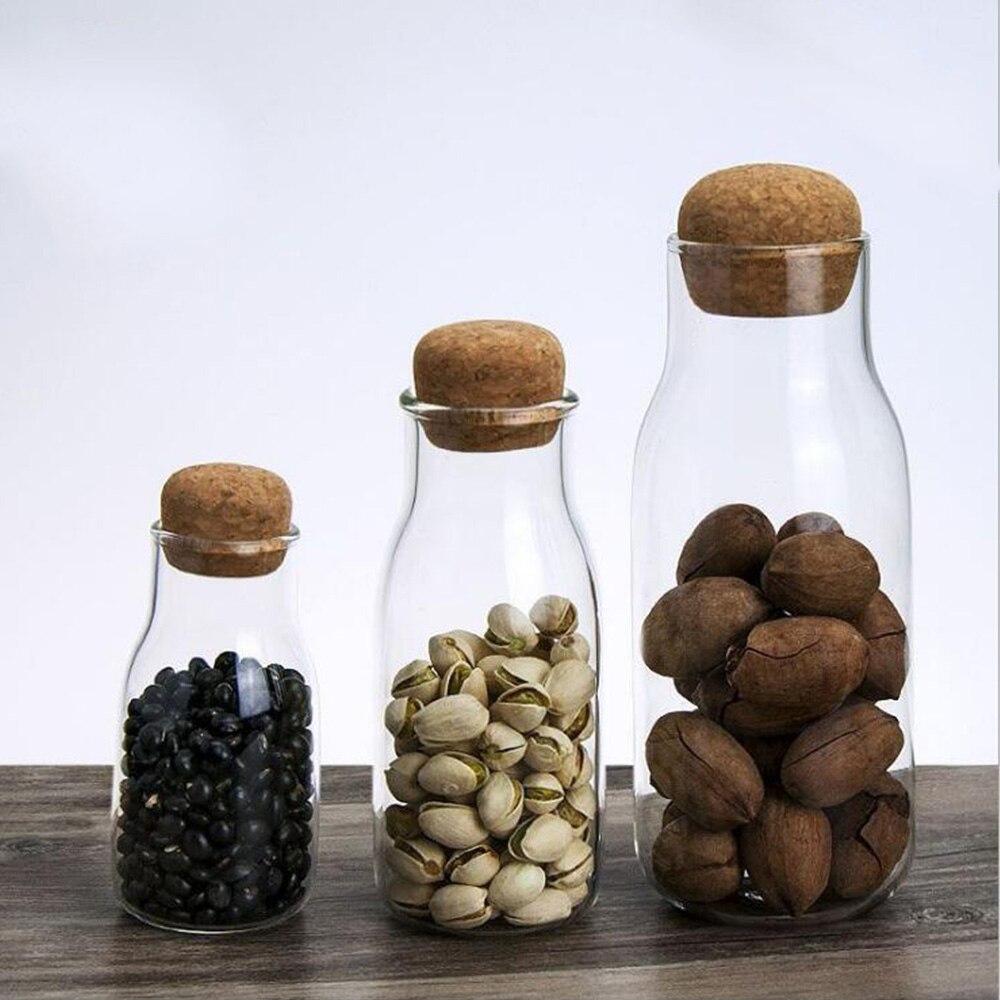 3 tamaños de vidrio limpio botellas de almacenamiento para los productos a granel, contenedores con tapa de corcho columna sellado tarro de especias de alimentos organizador latas