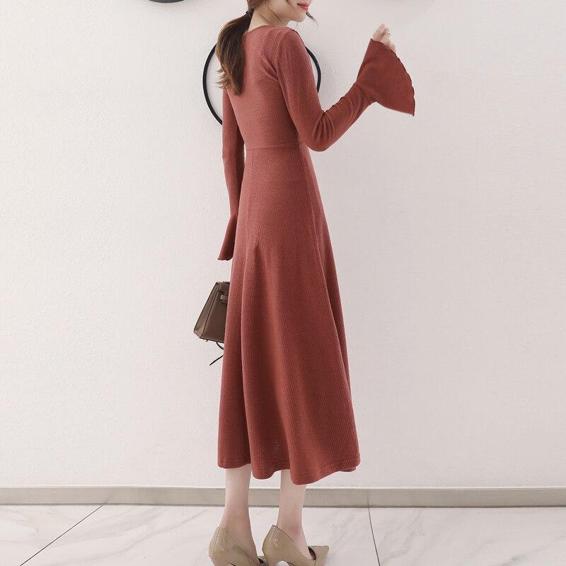2019 spring autumn maxi dress women new Korean slim knitted dress bottoming long French dress robe femme V-neck retro dresses