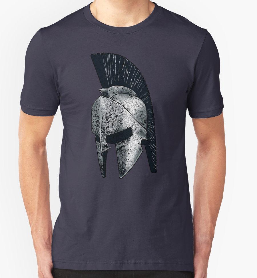 High Quality Mens Cheap Tees spartan Tshirt Helmet Gladiator Warrior Film Spartacus Birthday Gift Present Tee Shirt