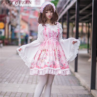 Feminine blouse kawaii clothes blouse women summer white solid o neck chiffon flare sleeve sweet lolita style shirt AA3676