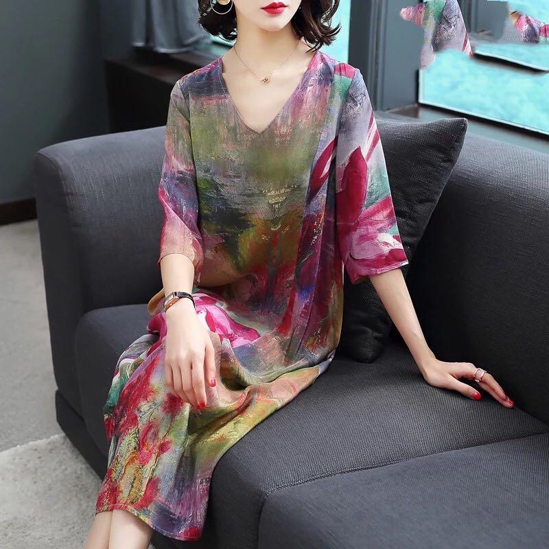 4xl New 2019 Women Dress Elegant Floral Spring Summer Three Quarter Sleeve Vestidos Vintage Print Faux Silk Dresses High Quality