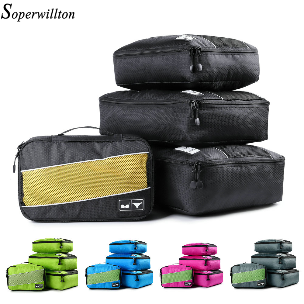 Soperwillton Packing Cubes Nylon Travel Organizer Bag Breathable Mesh Duffle Bag Men Women Travel Luggage Organizer Set(China)