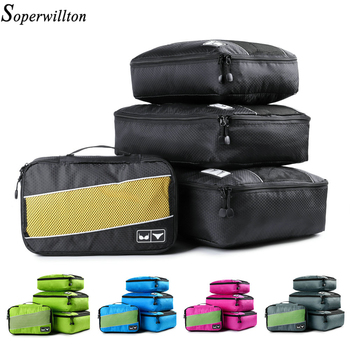 Soperwillton Packing Cubes Mesh Packing organizers Breathable Nylon Travel Duffle Bag Men Women Travel Luggage Organizer Set