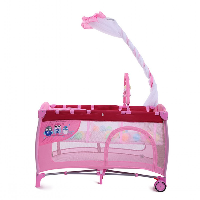 Pink Girl Baby Crib With Mosquito Net Multifunction Portable Foldable Baby Cribs With Toy High Quality Baby Game Play Bed