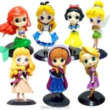 Alice Mermaid Snow White Anna Q Posket PVC Action Figurer Rapunzel Sleeping Beauty Tinker Bell Modell Princess Dolls Figurines