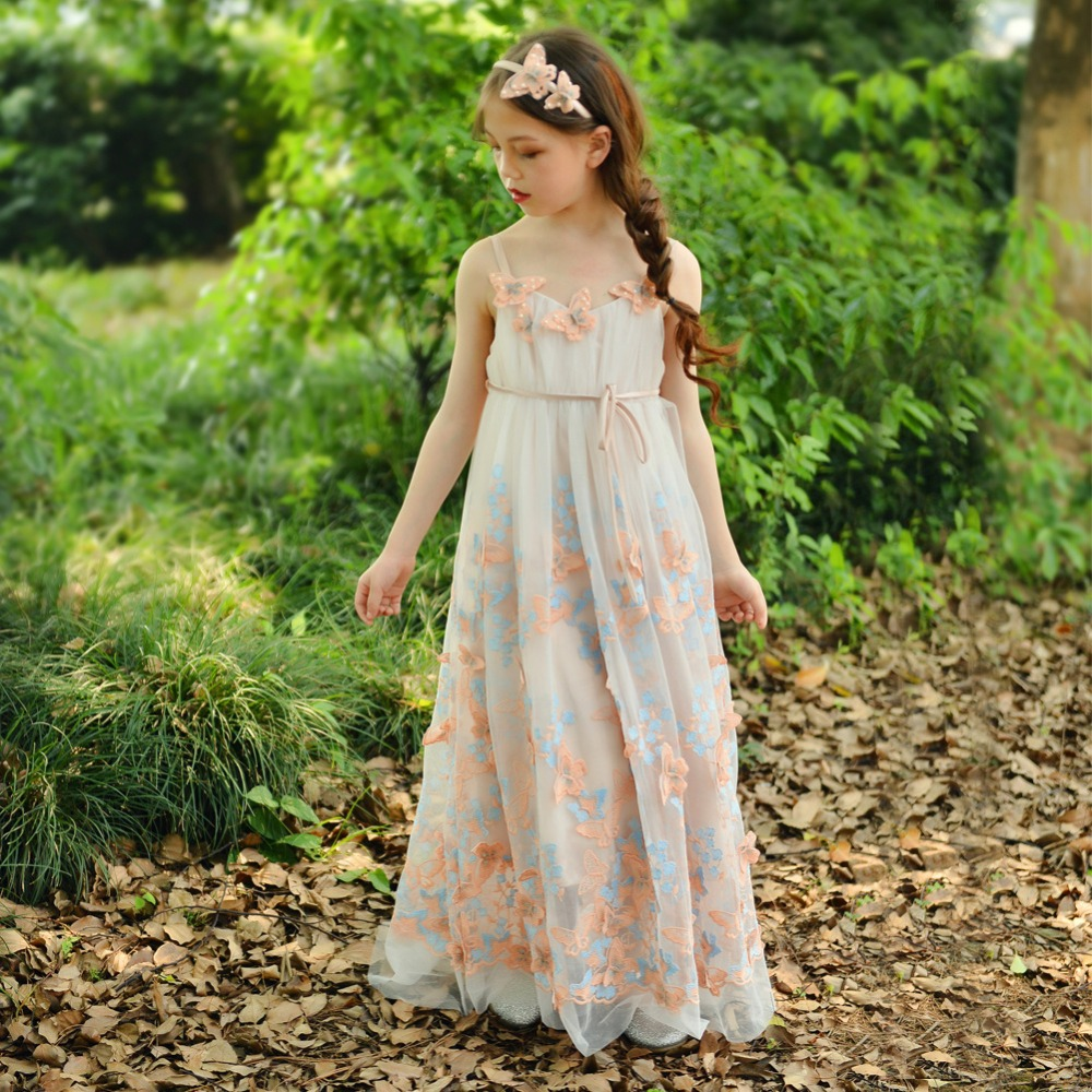 [Bosudhsou] als-5 Kids Girls Floral Dress Baby Girl Butterfly Party Dresses Children Fancy Princess A-Line Dress Wedding Clothes baby girls dress rose floral a line princess dress girls european style baby girl clothes kids clothes 2 10y flower girl dresses