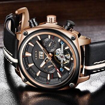 2019 New LIGE Mens Watches Top Brand Luxury High Quality Automatic Mechanical Sports Watch Men Tourbillon Watch Waterproof Clock 1