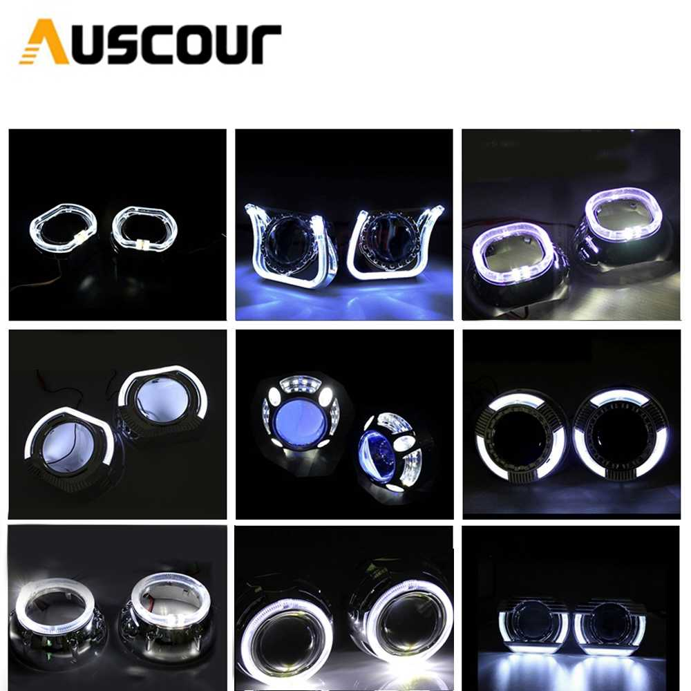3.0 inch bixenon Projector lens DRL led day running angel eyes shrouds mask car assembly kit fit for h1 h4 h7 car styling Modify