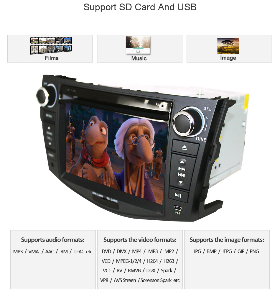 Clearance Eunavi Car DVD Player 2Din Car Radio For Toyota RAV4 2006 2007 2008 2009 2010 Steering Wheel control Touch screen GPS Navigation 12
