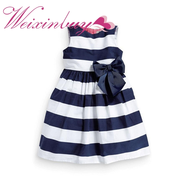 2017 Цельнокроеное платье для маленьких девочек голубое, белое летнее платье-пачка в полоску, с бантом