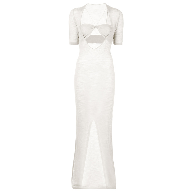 Chic Kylie Jenner Opening Ceremony La Piana Long Dress Sexy White Bandeau See Through Cut Out Keyhole Transparent Slit Maxi Gown 2