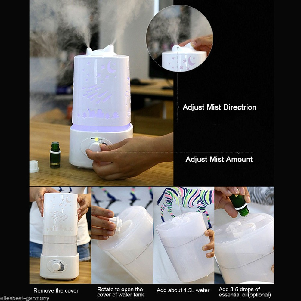 цена GRTCO 1.5L Ultrasonic Home Aroma Humidifier Air Diffuser Purifier Ionizer Atomizer hot