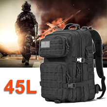 Military Tactical Waterproof Army Backpack Men Male 3P Assault Attack Bag 45L Large Outdoor Travel Back Pack Mountaineering Bags цена
